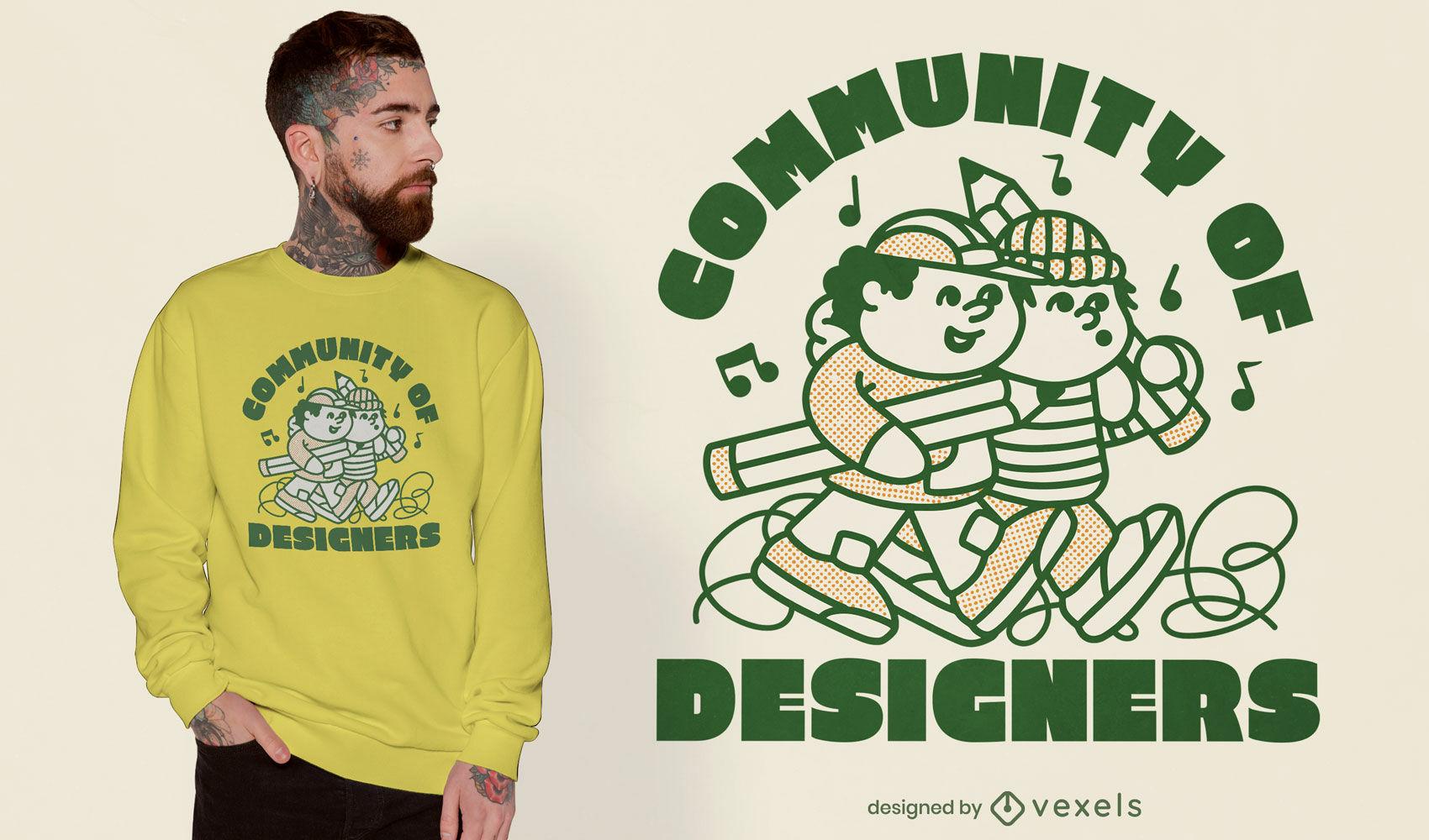 Amigos del diseñador doodle diseño de camiseta