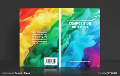 Diseño de portada de libro de arco iris en acuarela