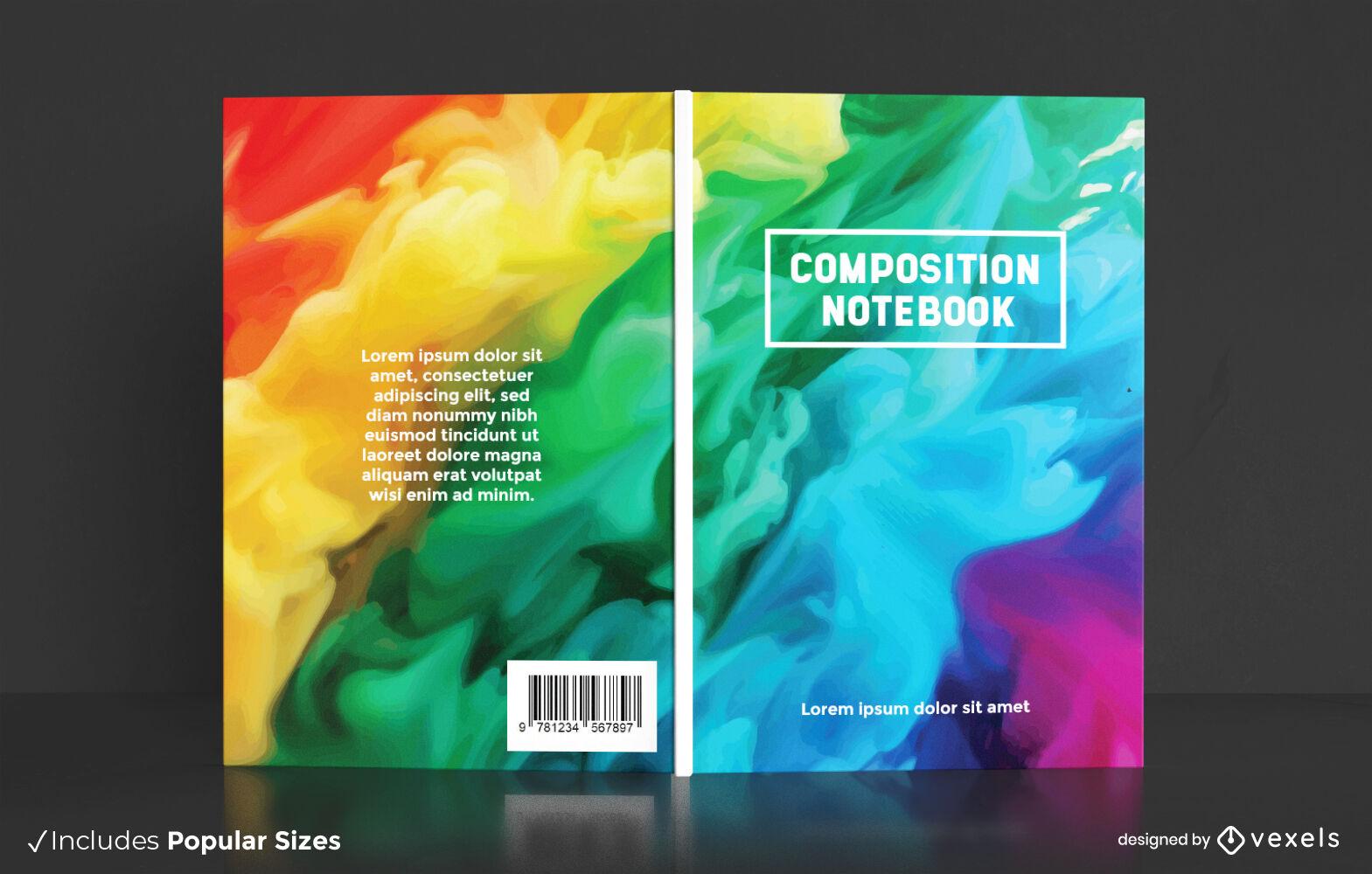 Watercolor rainbow book cover design