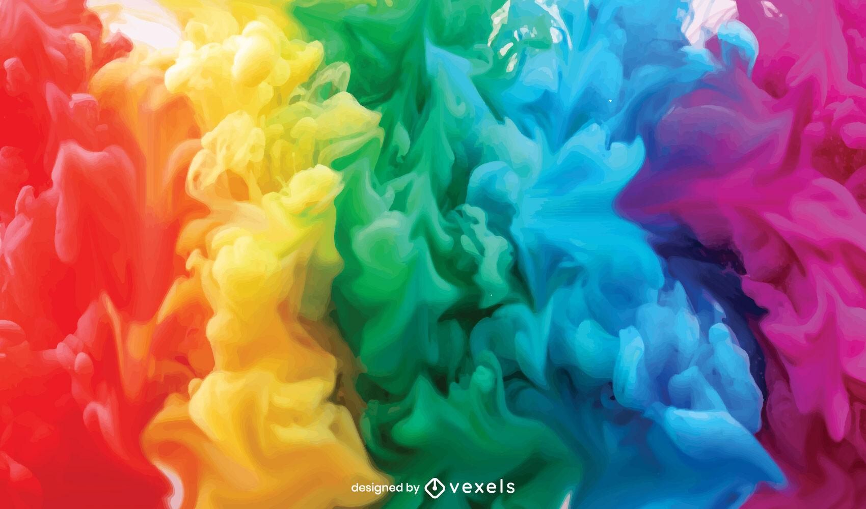 Regenbogen-Rauchwolken-Hintergrunddesign