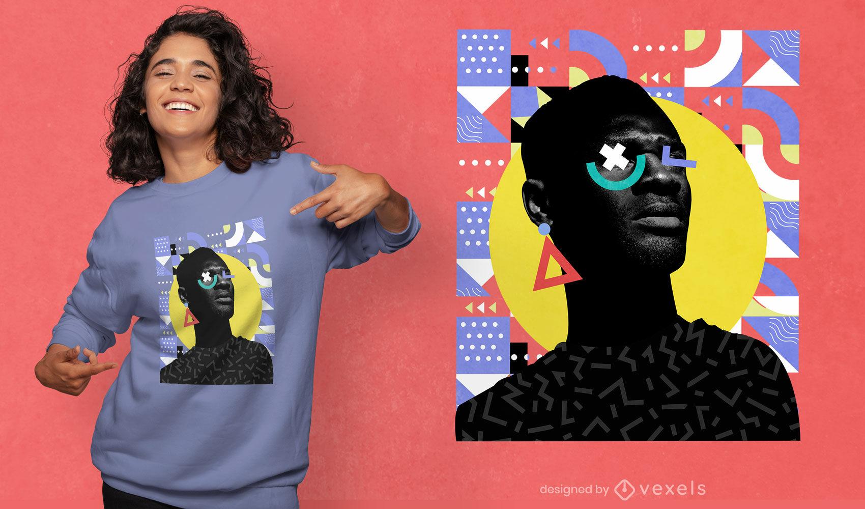 Man in geometric shapes psd t-shirt design
