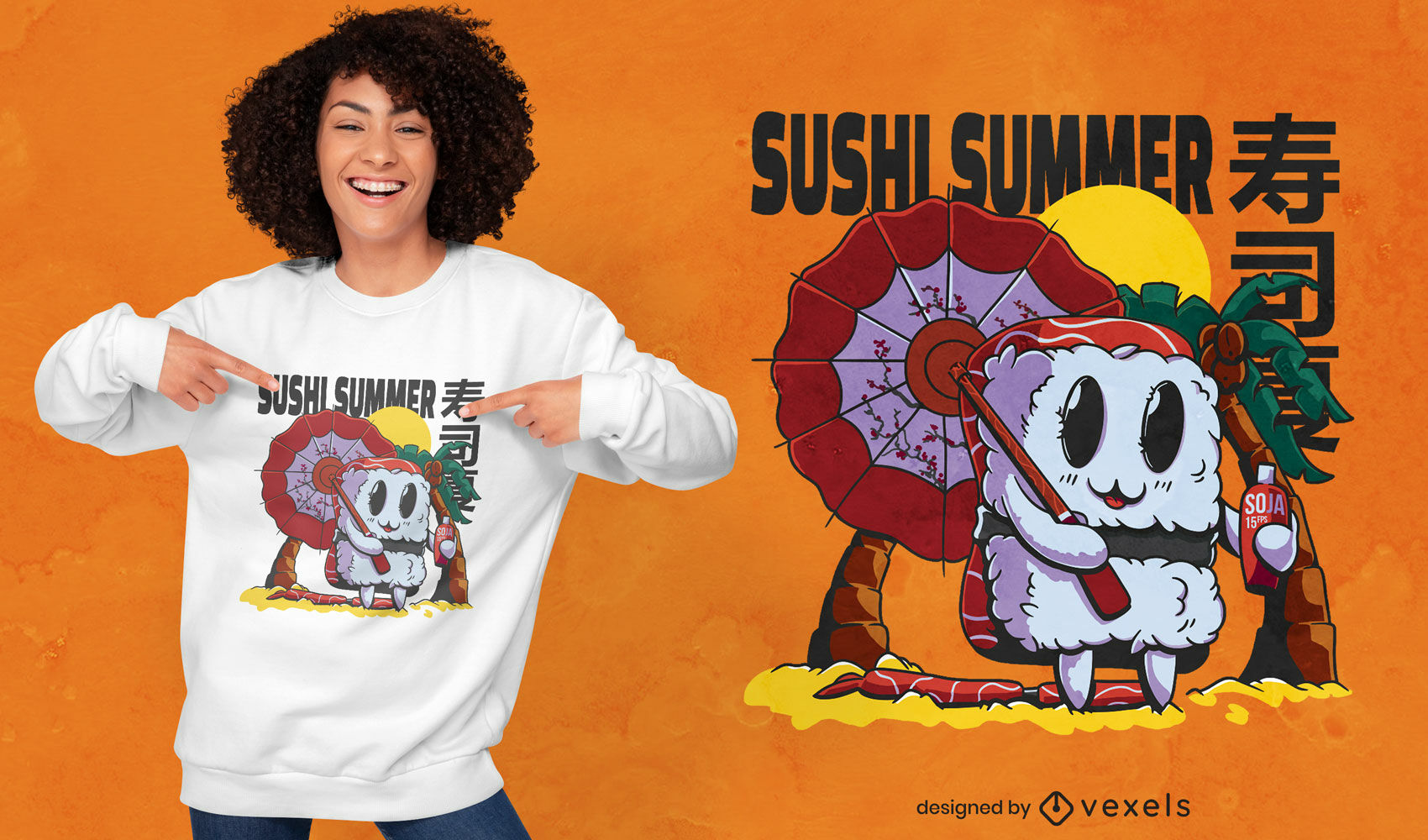 Beach sushi cartoon food t-shirt design