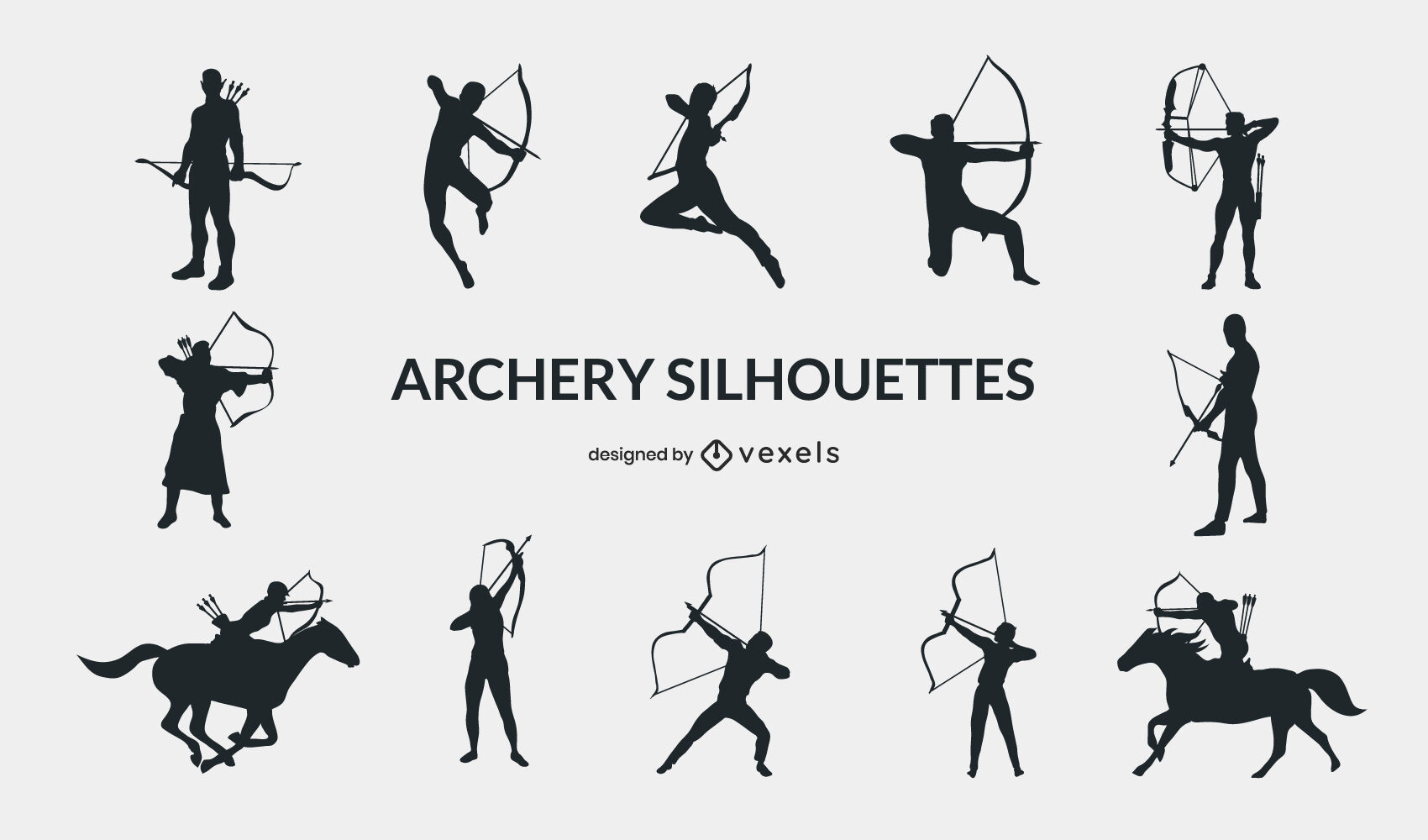 Archery sport people poses silhouette set