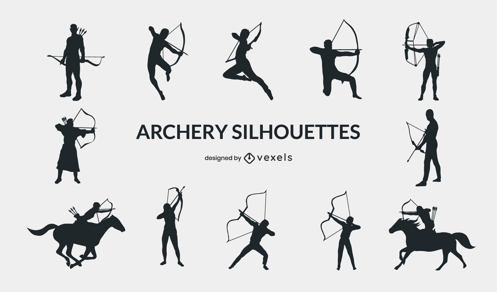 Pessoas do esporte com arco e flecha posam conjunto de silhueta