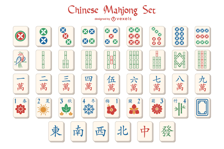 Mahjong chinese game symbol pieces set