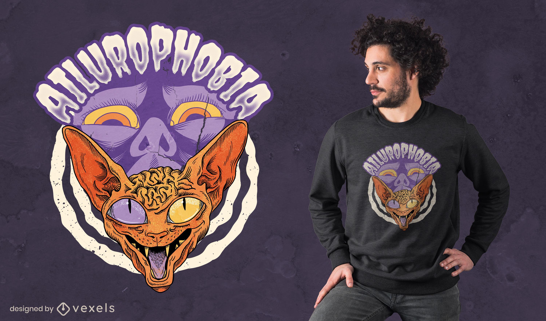 Miedo a los gatos diseño de camiseta psd