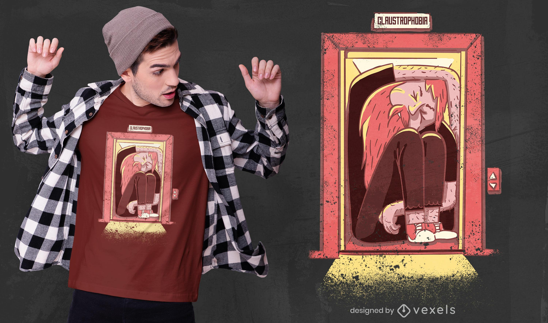 Diseño de camiseta psd de claustrofobia