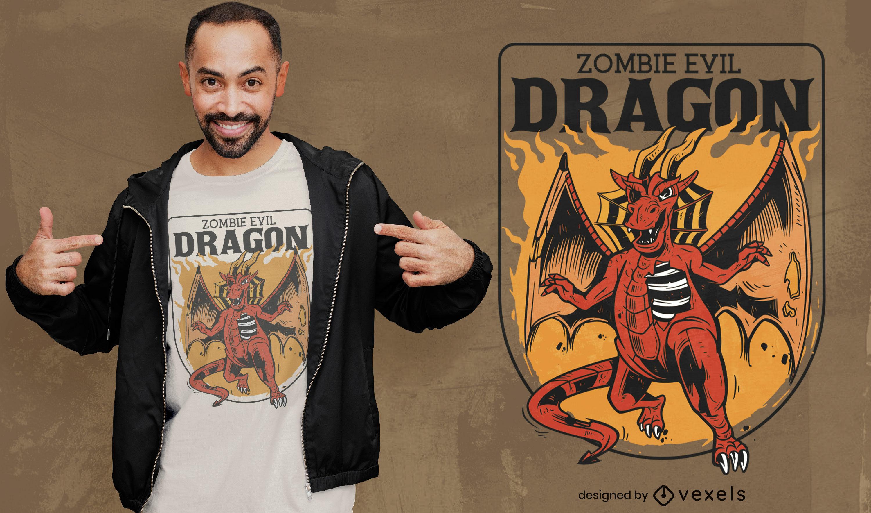 Diseño de camiseta de dragón genial