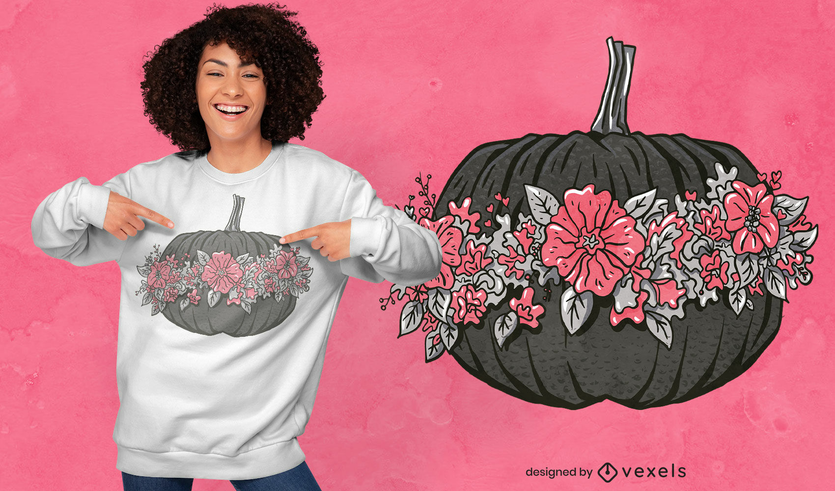 Precioso diseño de camiseta de calabaza con flores.