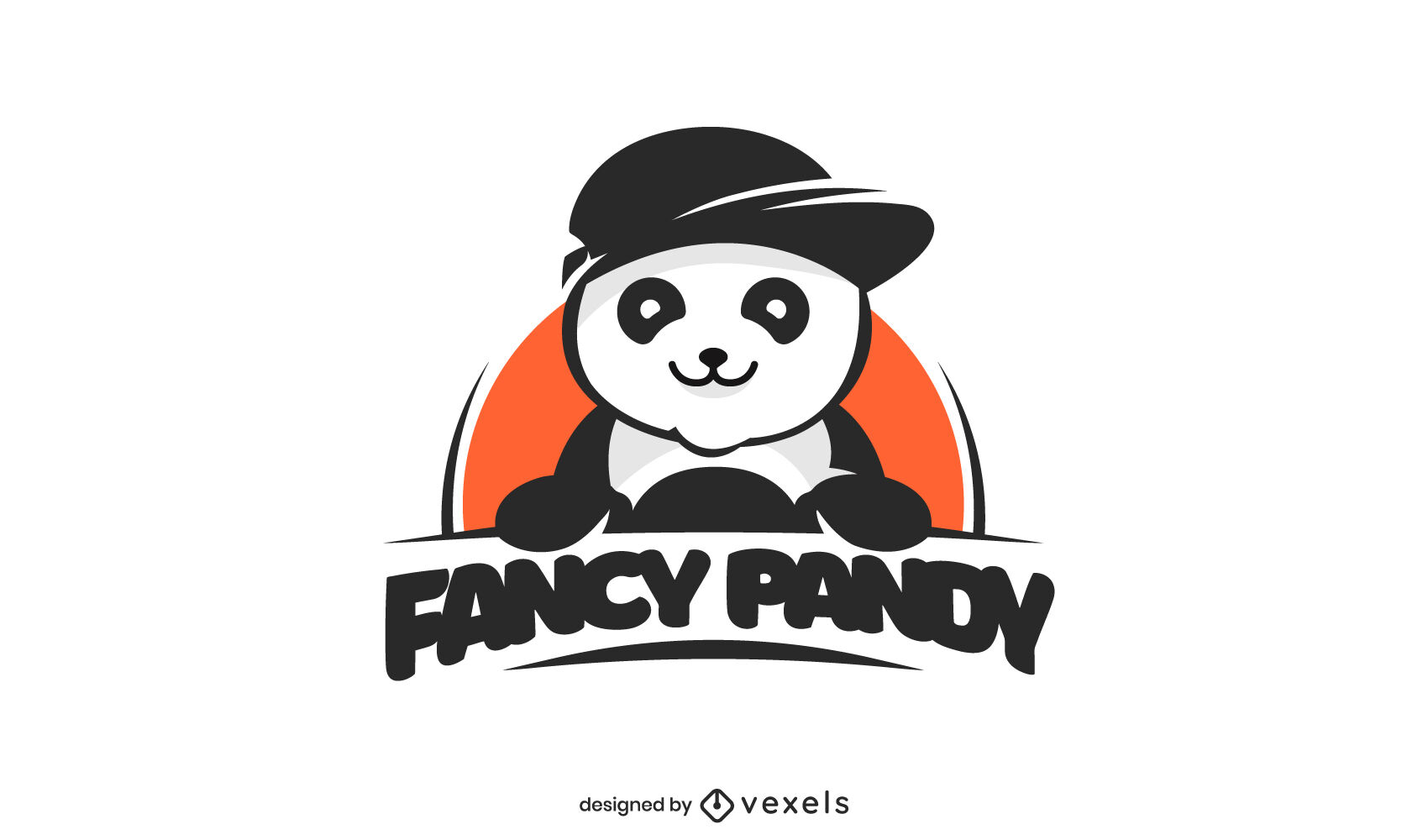 Modelo de logotipo de animal de urso panda chique