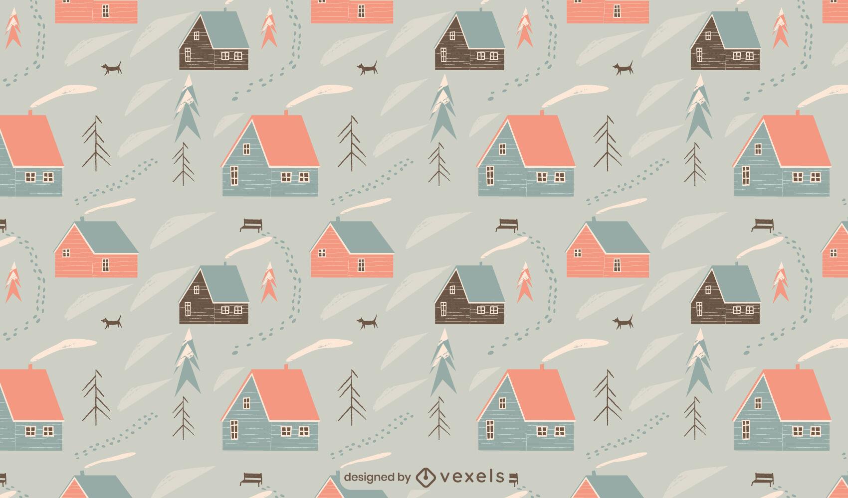 Diseño de patrón de casas de cabaña de temporada de invierno