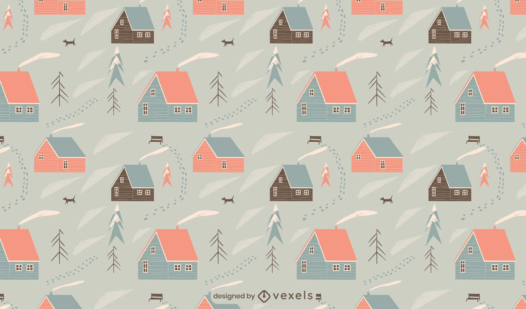 Winter season cabin houses pattern design