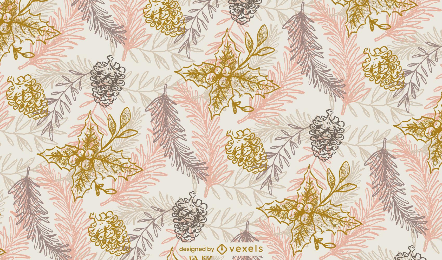Mistletoe winter leaves pattern design