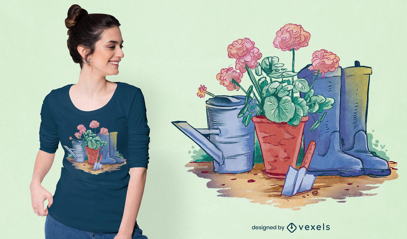 Diseño de camiseta psd de plantas y jardinería.