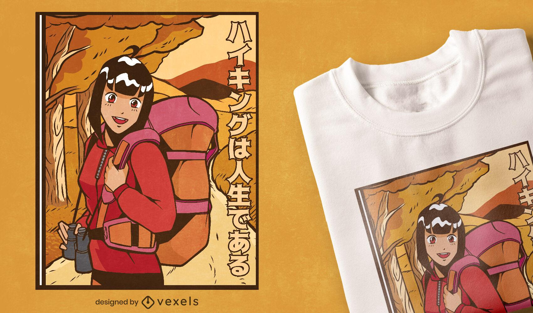 Diseño de camiseta de anime de senderismo fresco