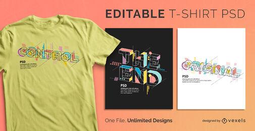 Geometrischer abstrakter Text skalierbare PSD-T-Shirt-Vorlage