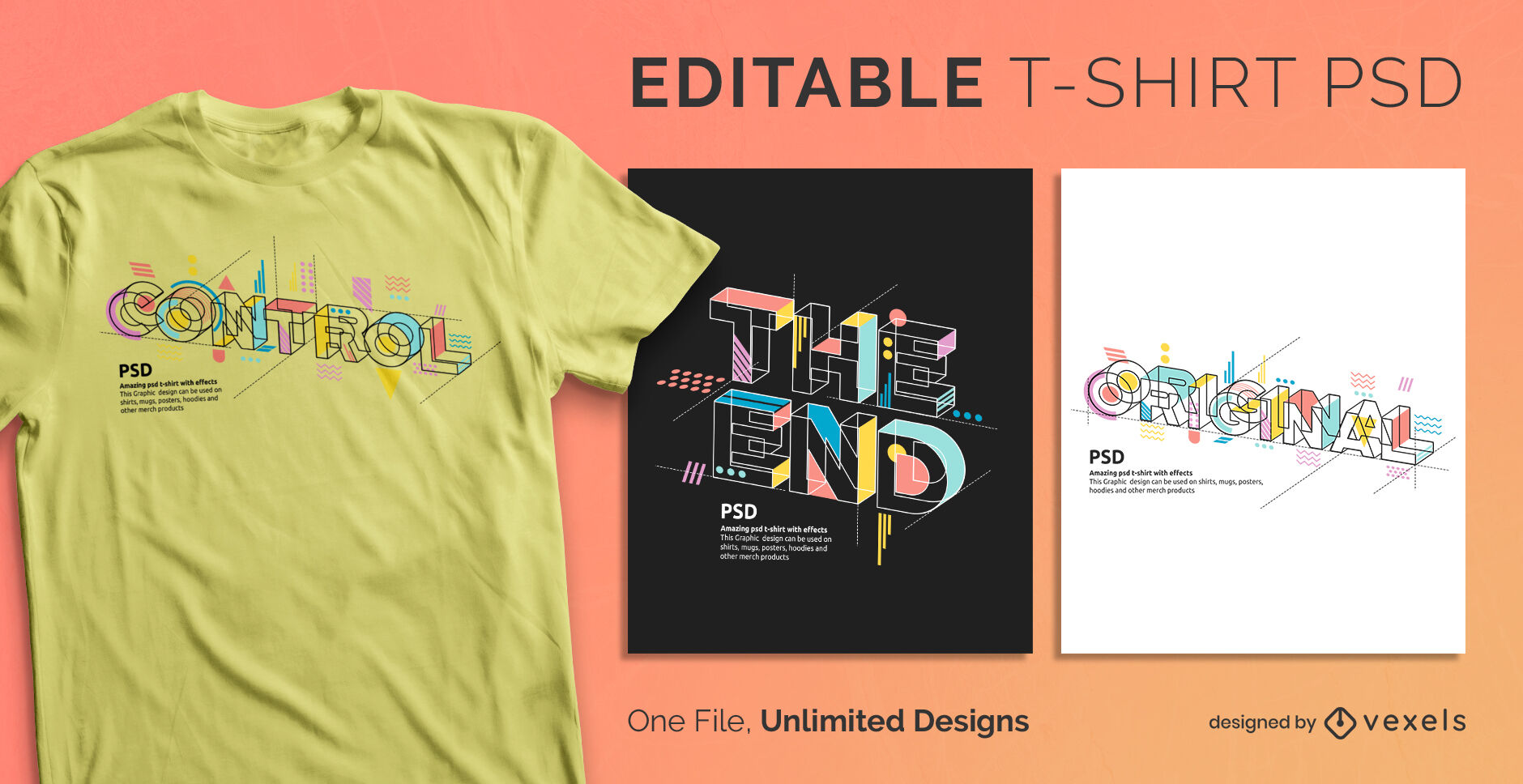 Geometric abstract text scalable psd t-shirt template