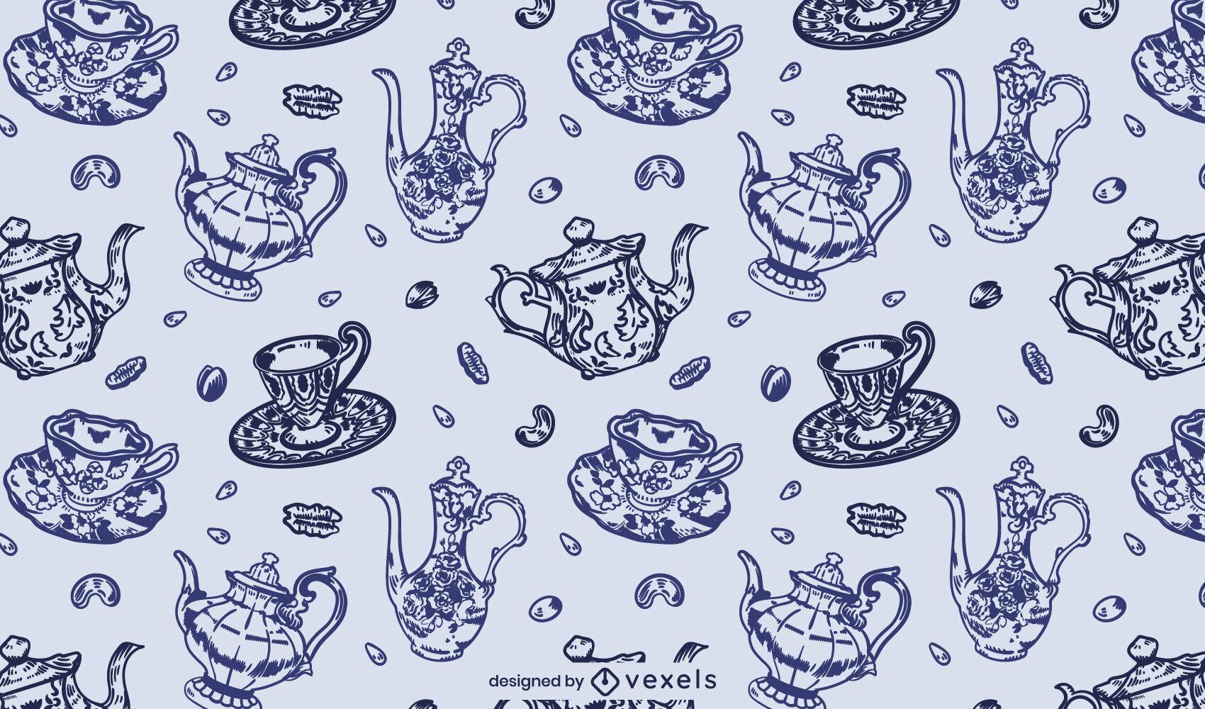 Design vintage de padrão de bule e xícara de chá