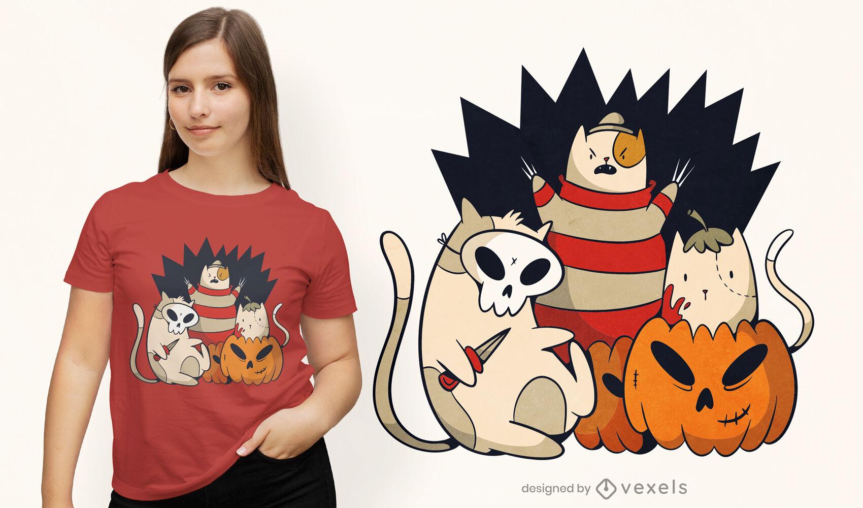 Design de t-shirt do esquadrão de gatos brilhantes do Dia das Bruxas
