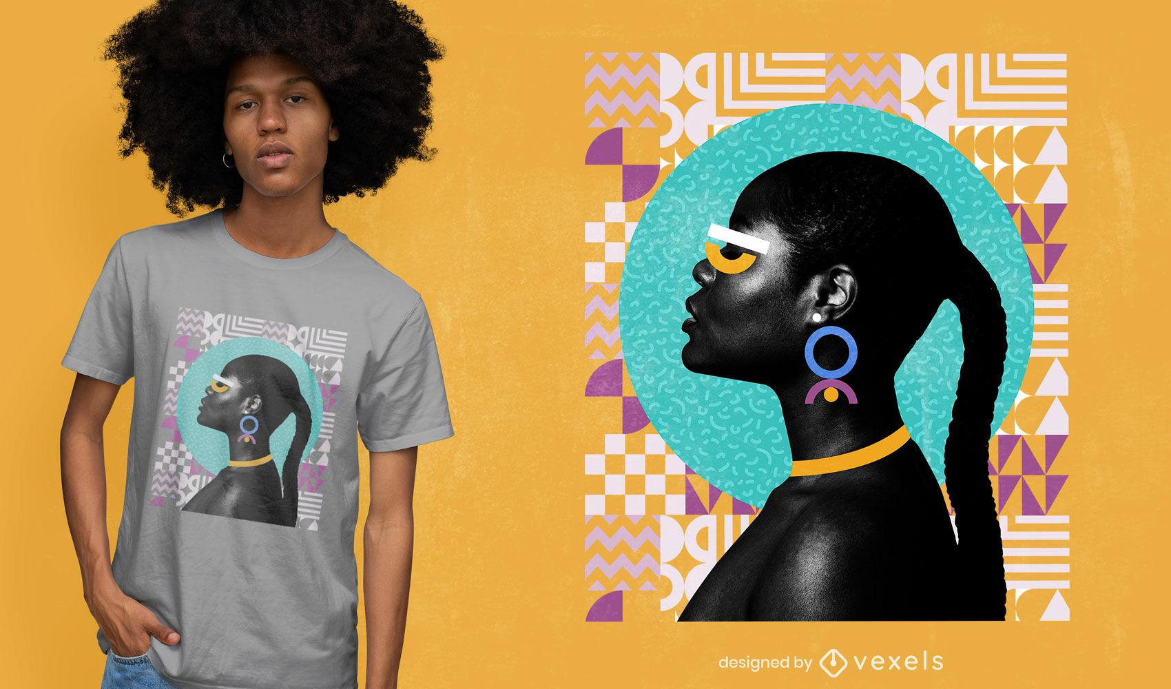 Women in geometric shapes psd t-shirt design