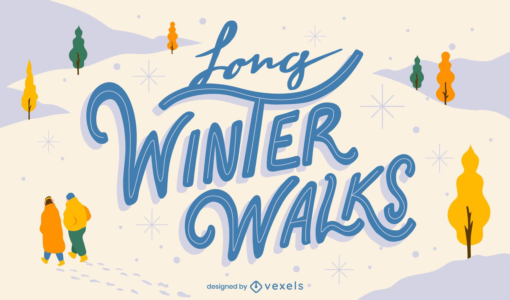 Diseño de letras de paisaje de nieve de invierno