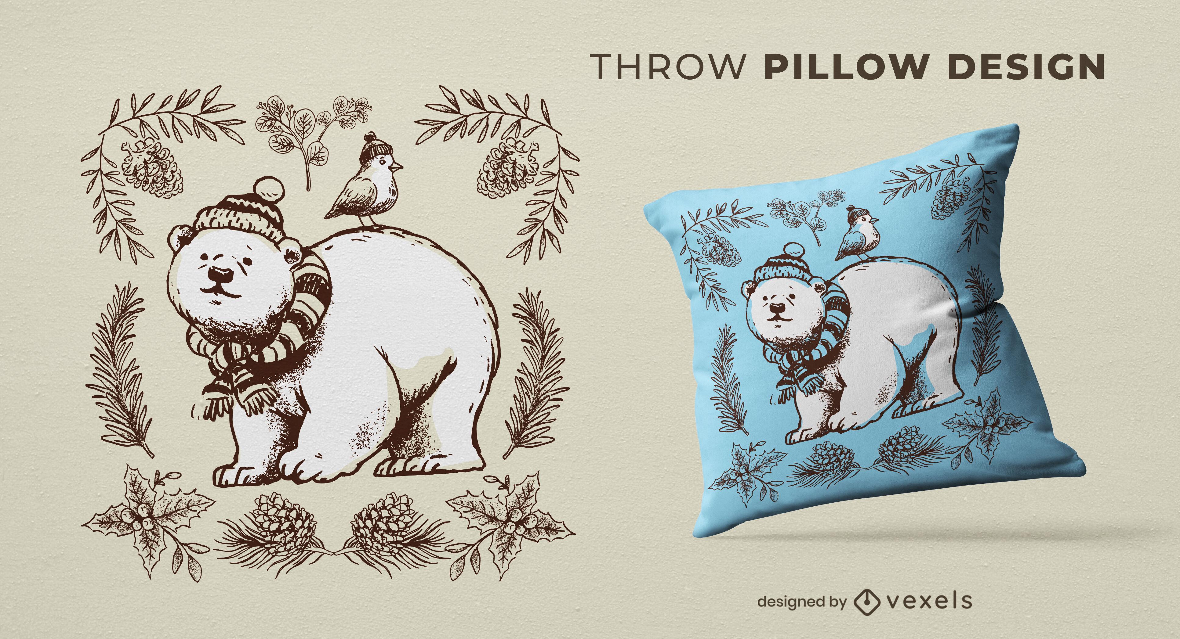 Dise?o de almohada de tiro de invierno animal oso polar