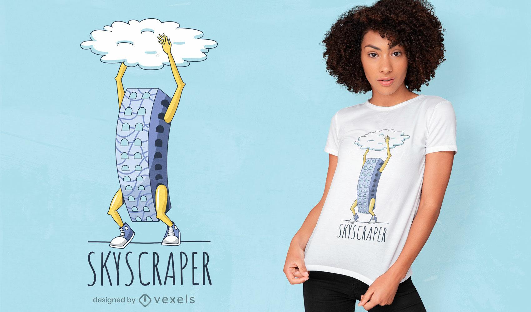 Divertido diseño de camiseta de rascacielos.