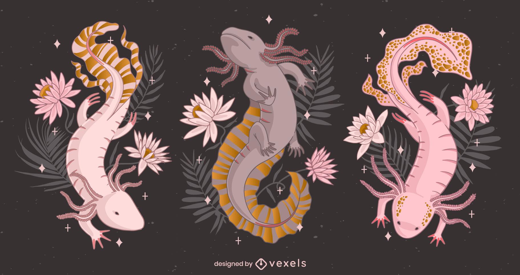 Axolotl Tier rosa Blumen Natur Set