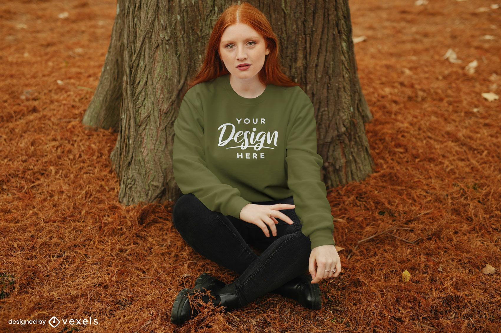 Girl in sweatshirt autumn forest mockup