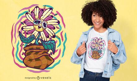 Trippy flower t-shirt design