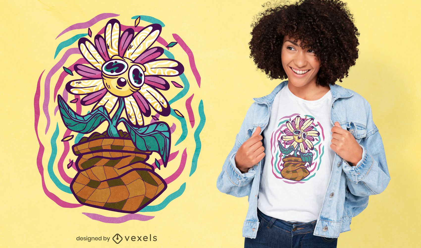 Diseño de camiseta de flor trippy