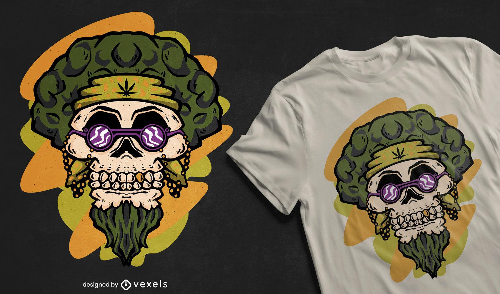 Diseño de camiseta de calavera hippie
