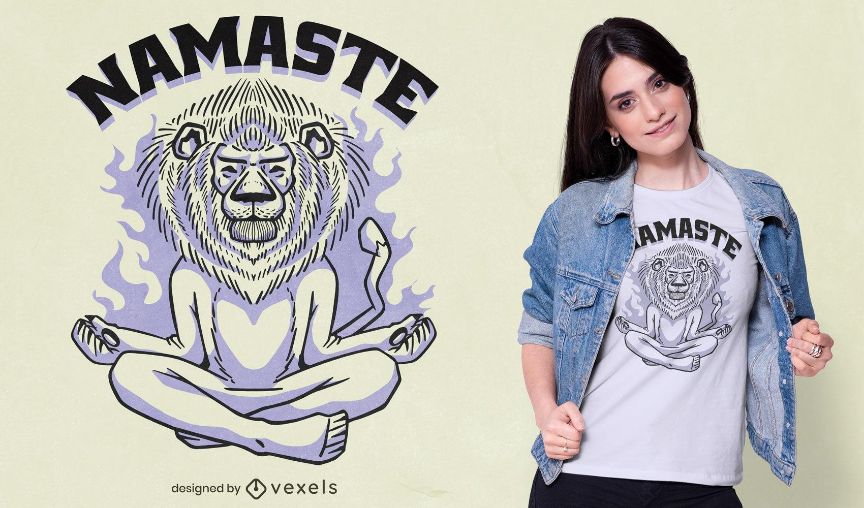 Diseño de camiseta de león meditando.