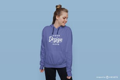 Girl in blue hoodie in flat background mockup