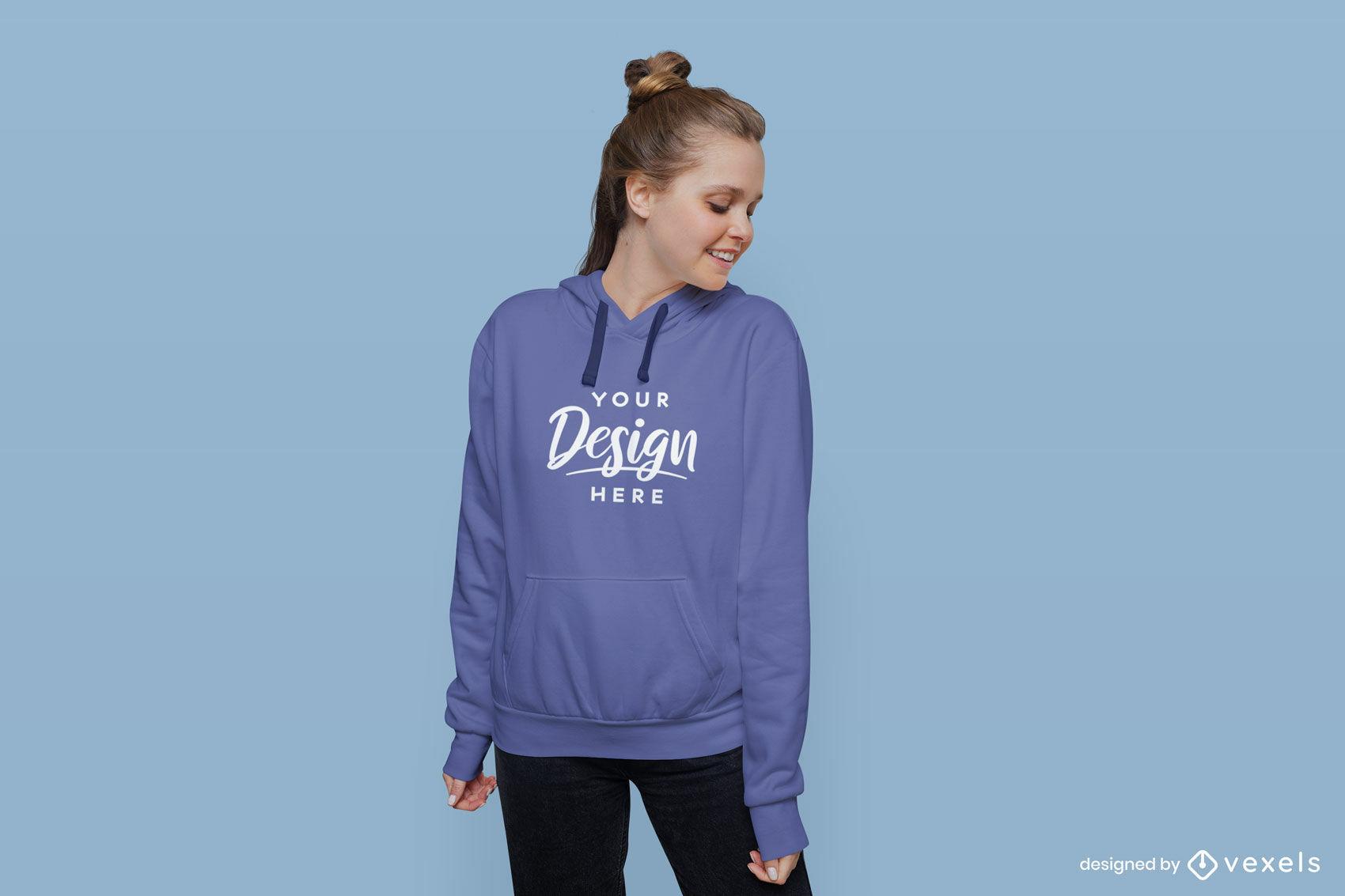 Mädchen im blauen Hoodie im flachen Hintergrundmodell