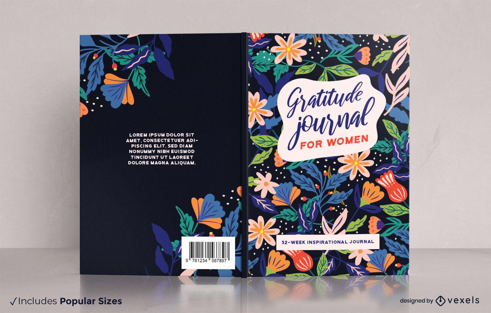 Design floral da capa do jornal de gratidão