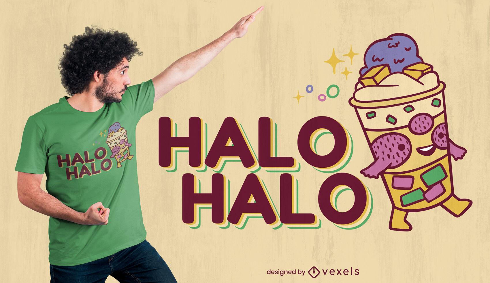 Diseño de camiseta Halo Halo Postre