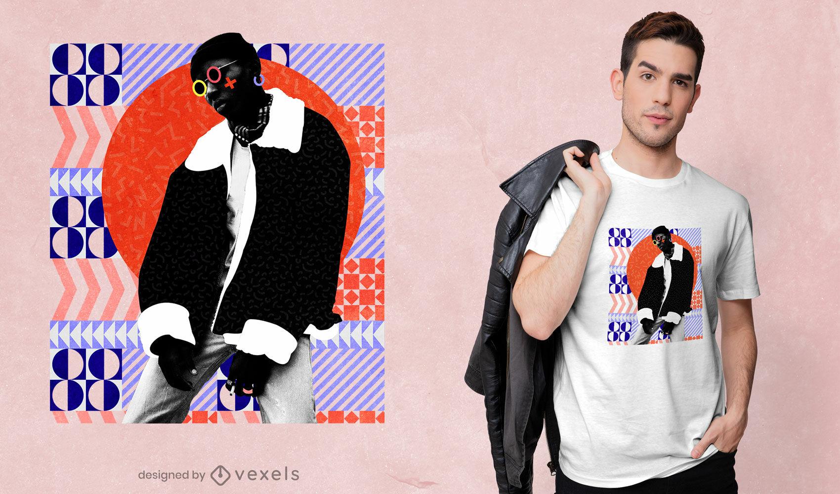 Hombre en diseño de camiseta de círculo de formas geométricas psd