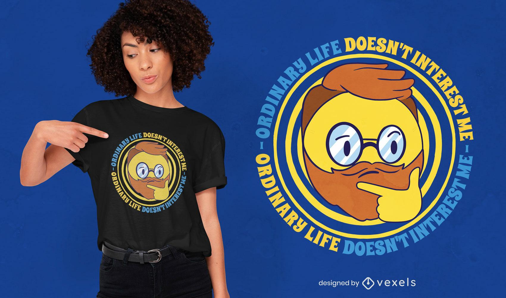 Diseño de camiseta hipster emoji