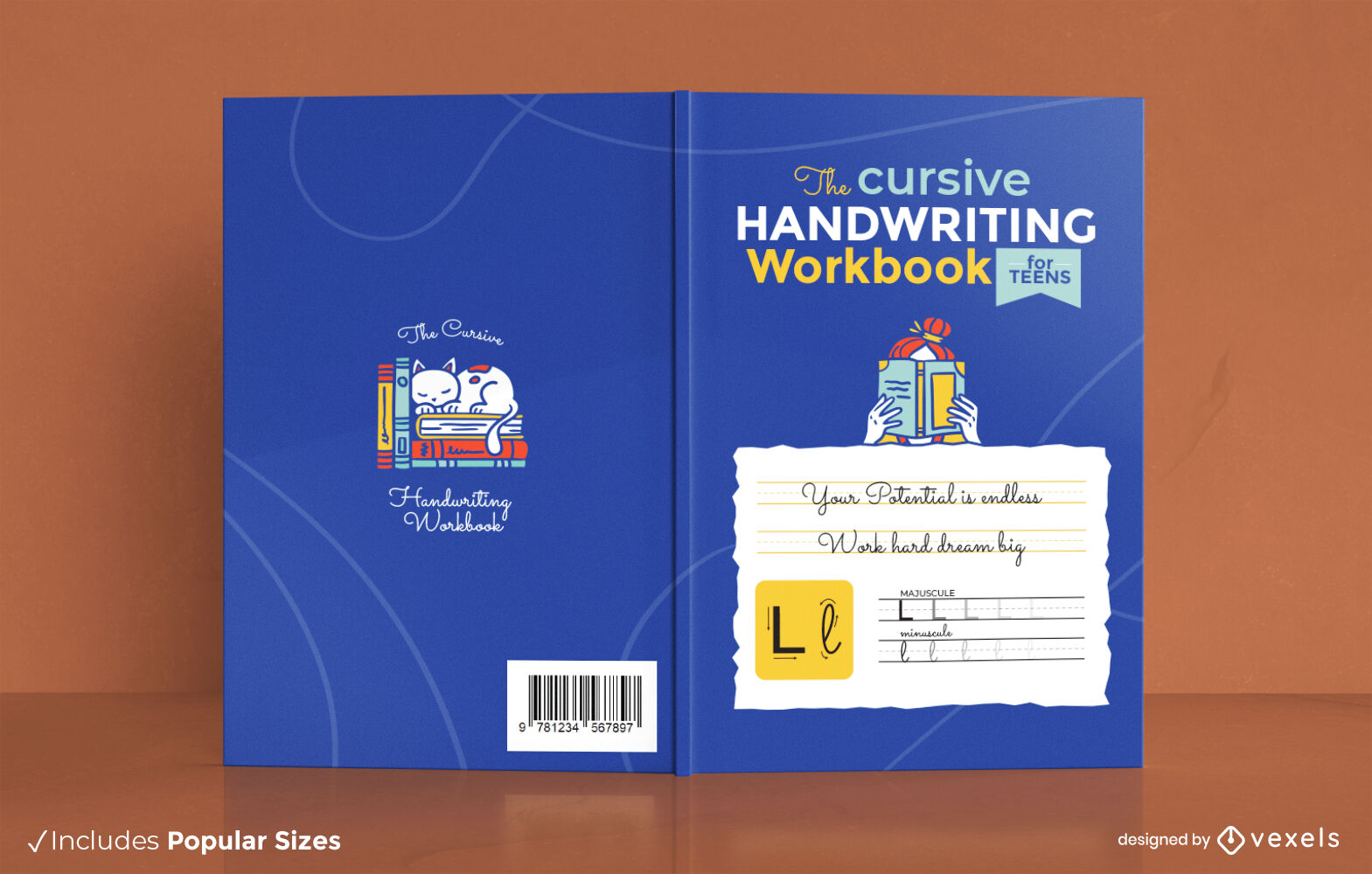 Diseño de portada de libro de escritura cursiva