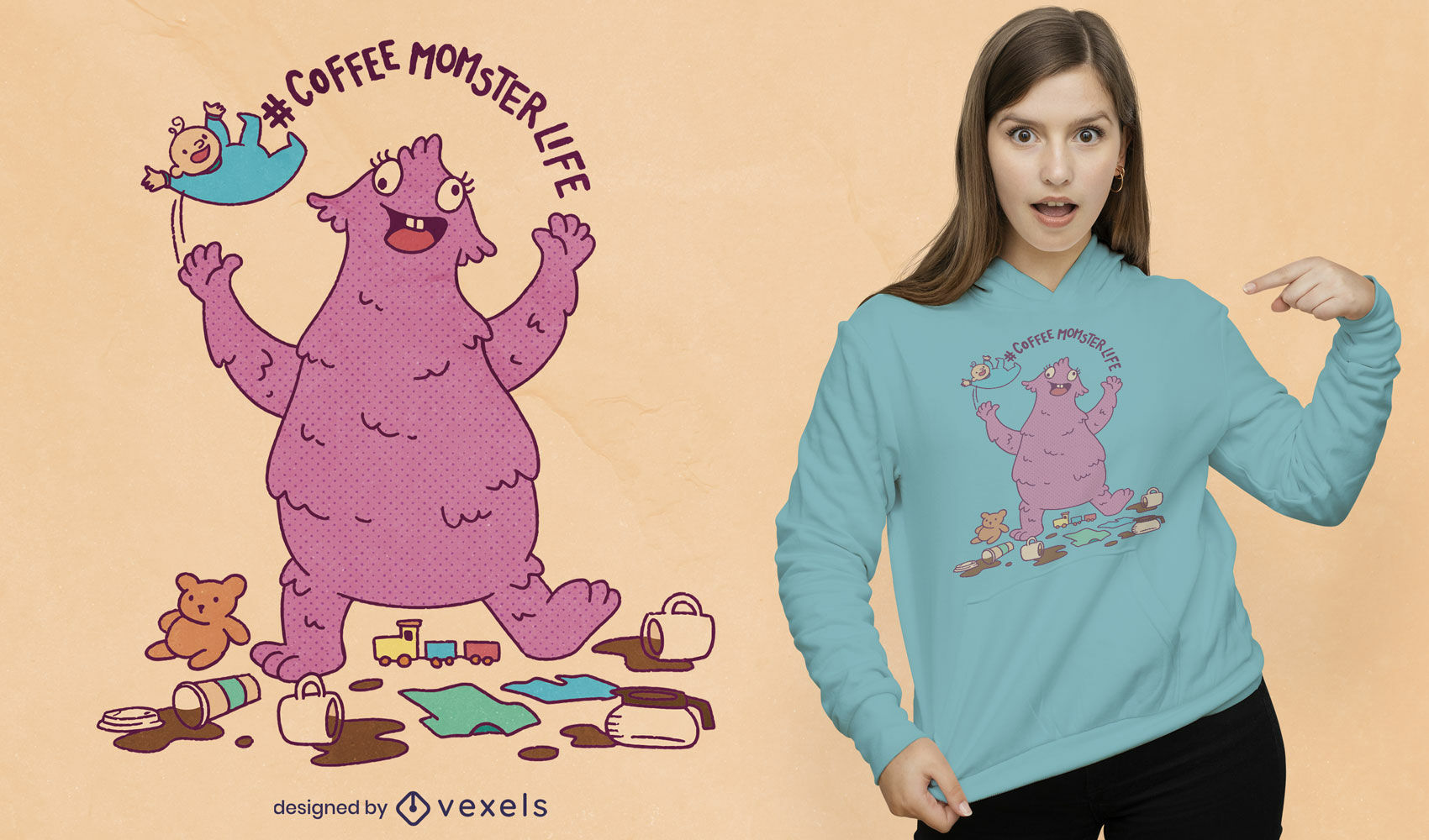 Cute coffee momster t-shirt design