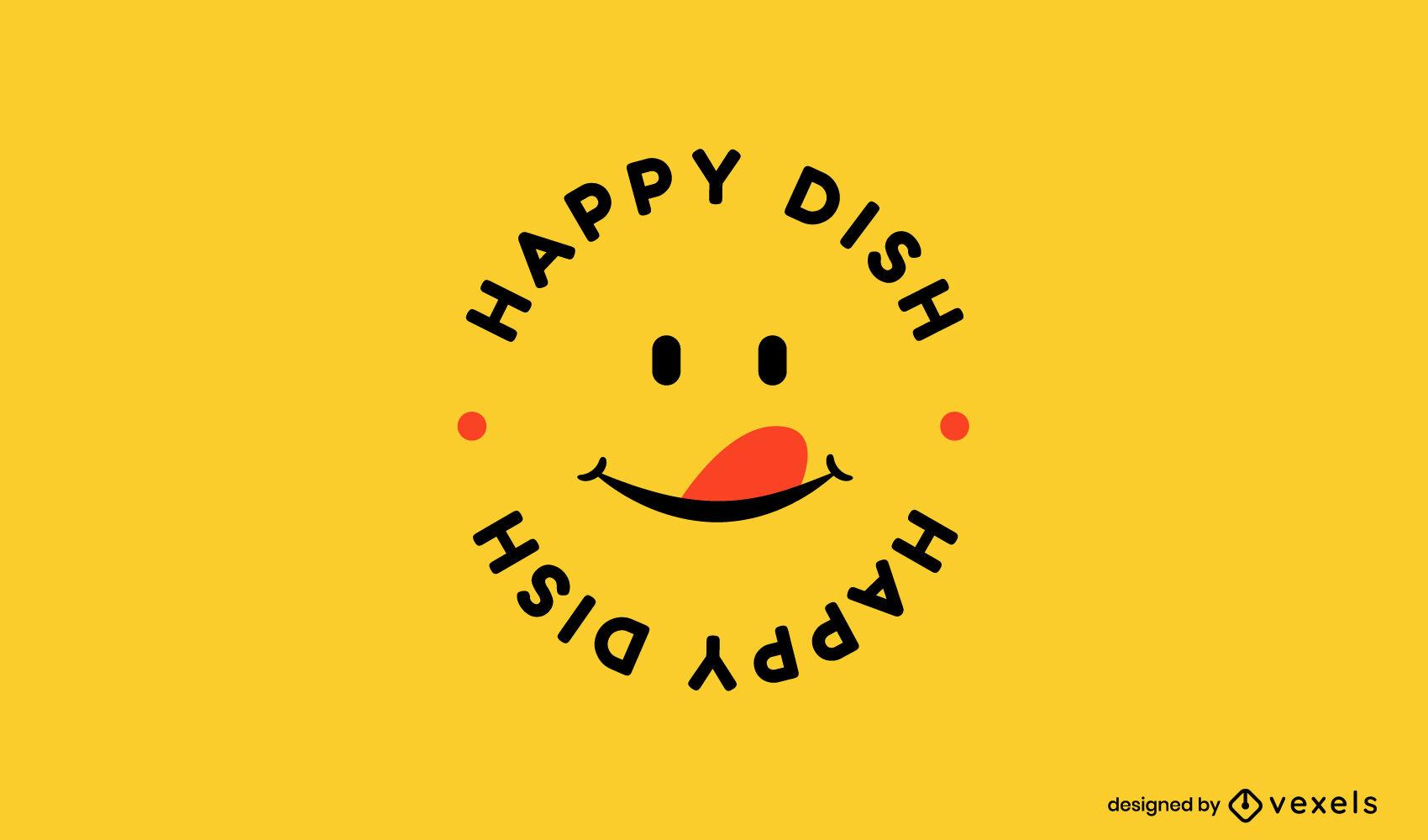 Happy face emoji business logo template