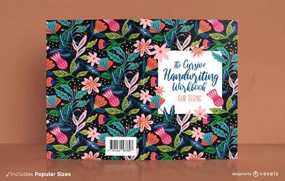 Diseño de portada de libro floral de escritura cursiva
