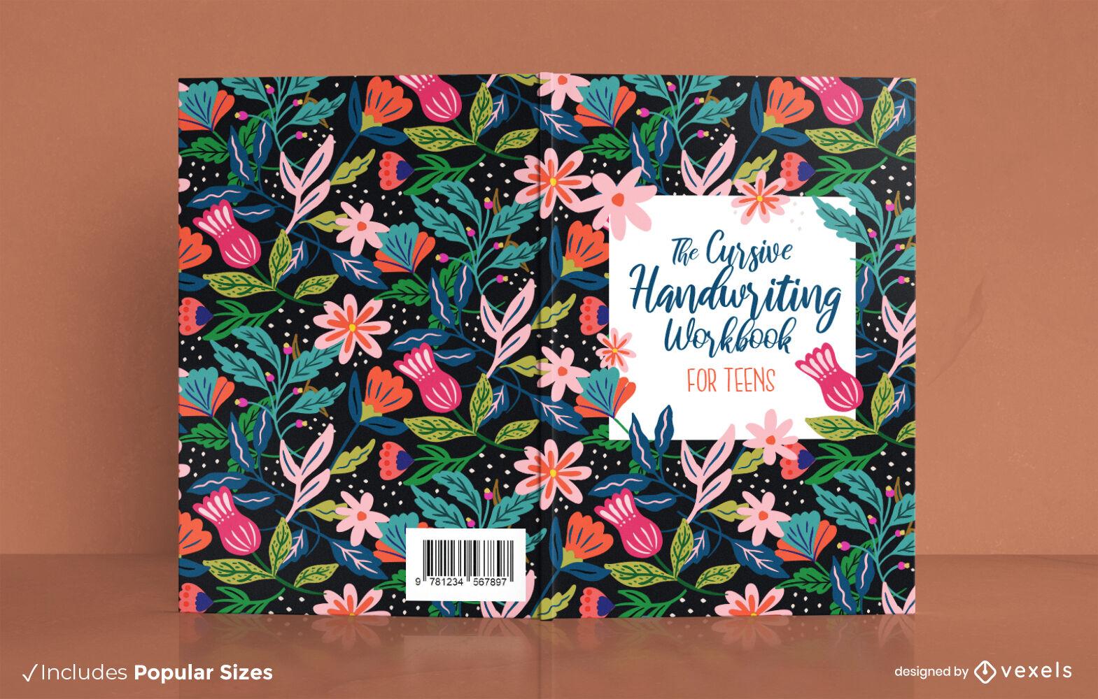 Design floral da capa do livro com caligrafia cursiva