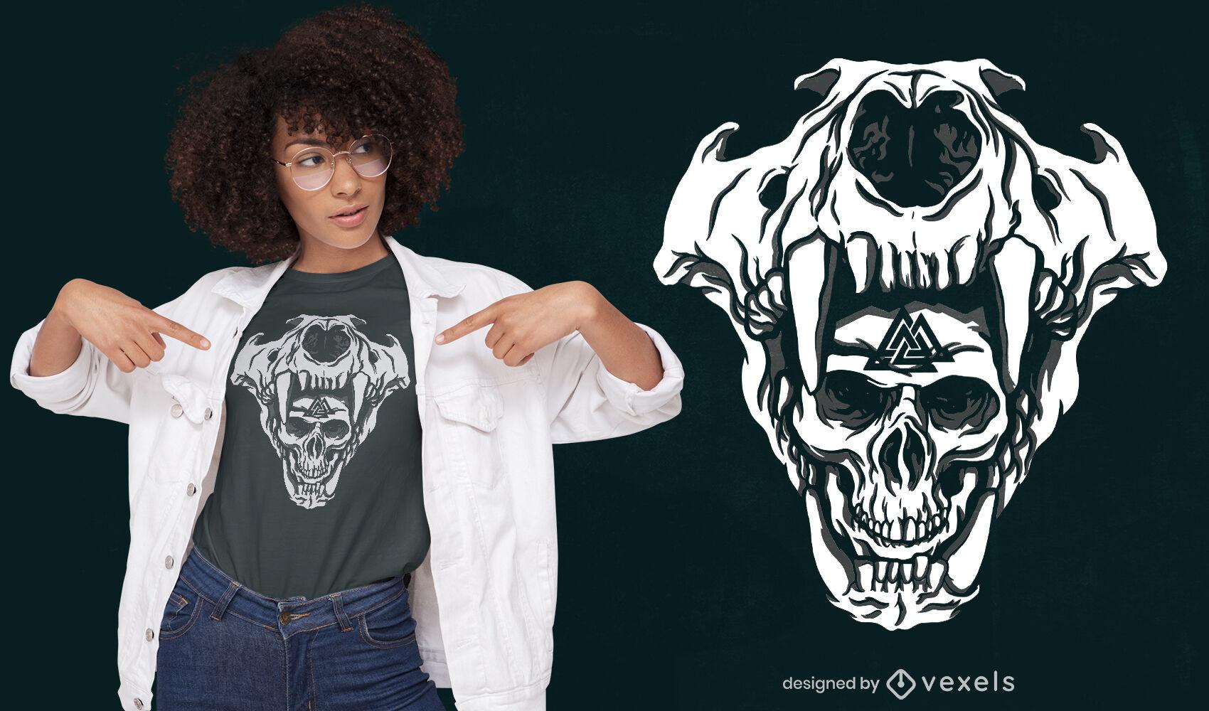 Genial diseño de camiseta de calaveras vikingas