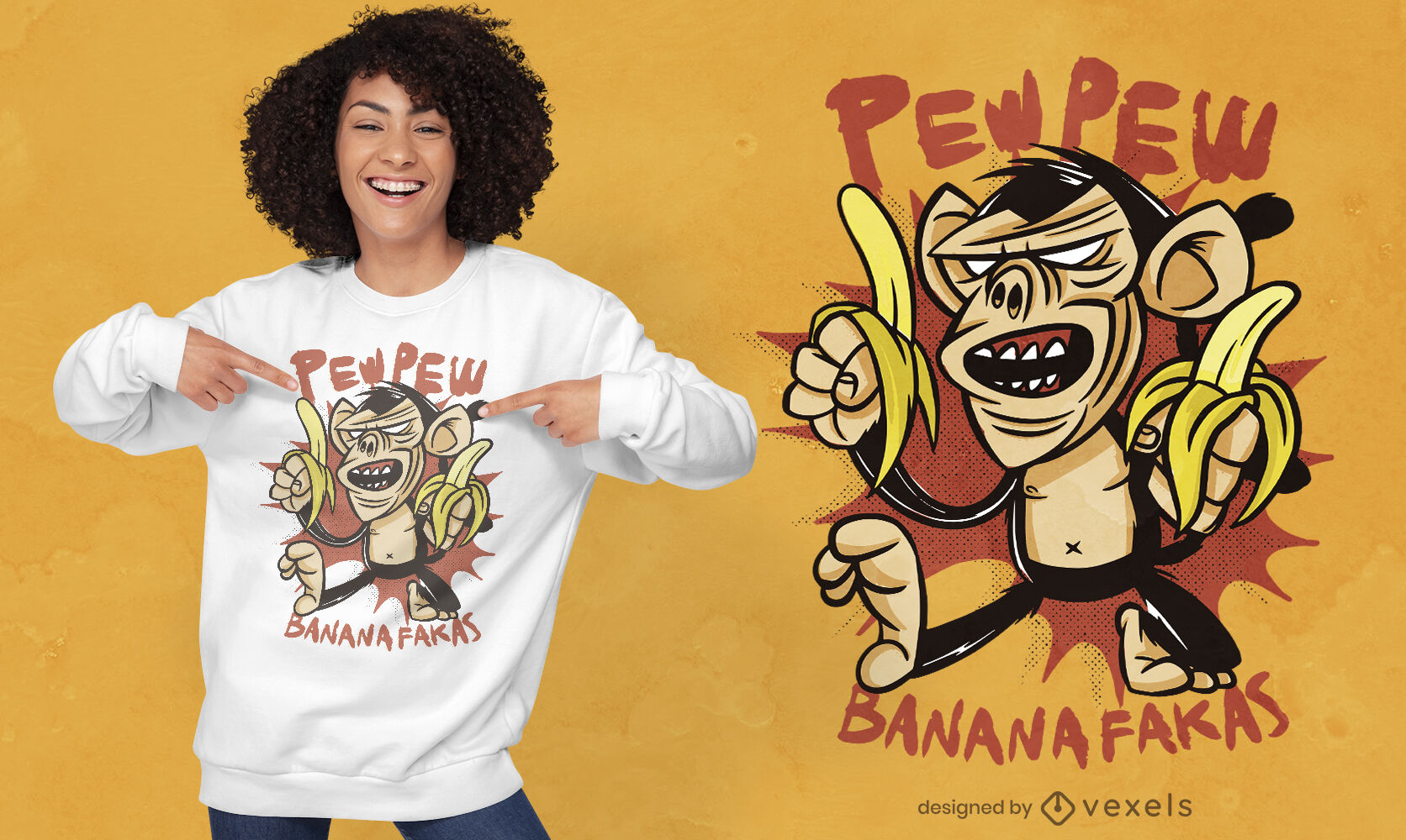 Diseño de camiseta animal mono de dibujos animados enojado