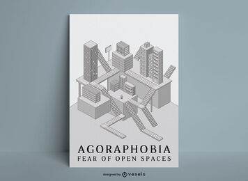 Buildings isometric space poster template