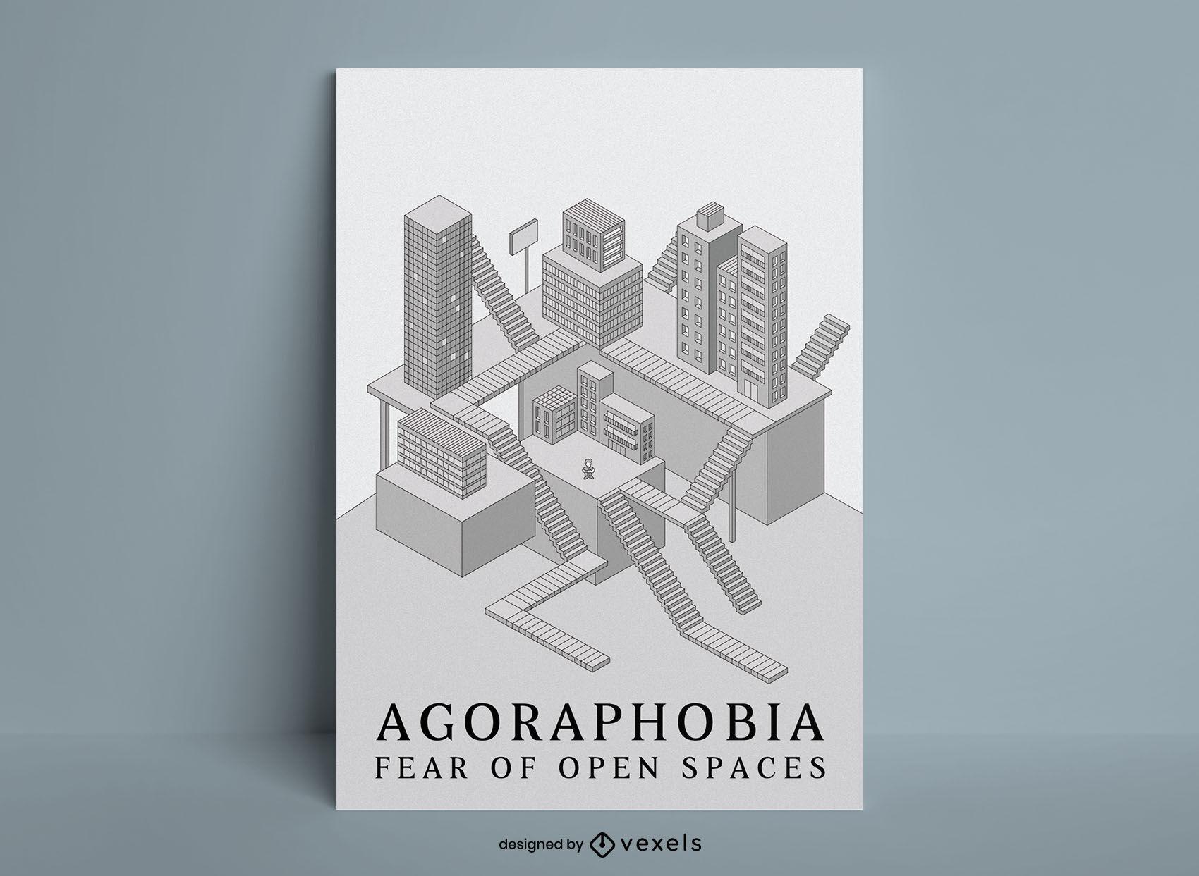Plantilla de cartel de espacio isométrico de edificios