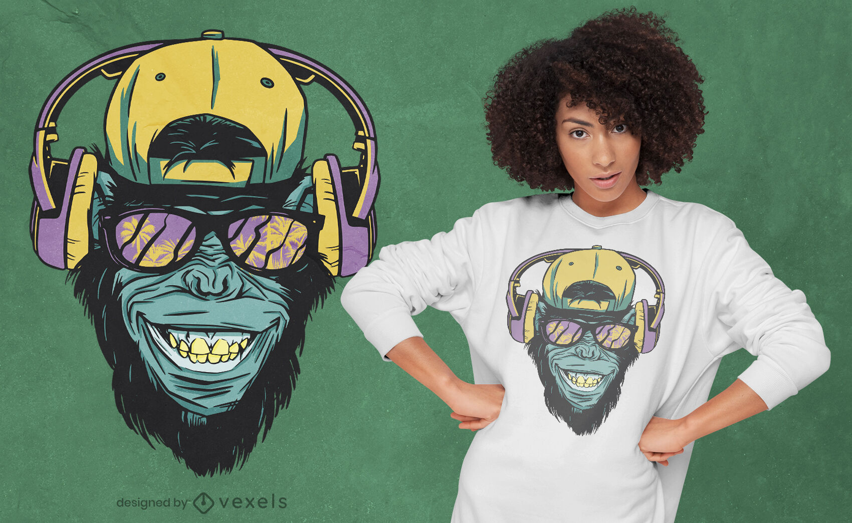 Macaco com design de t-shirt de auscultadores
