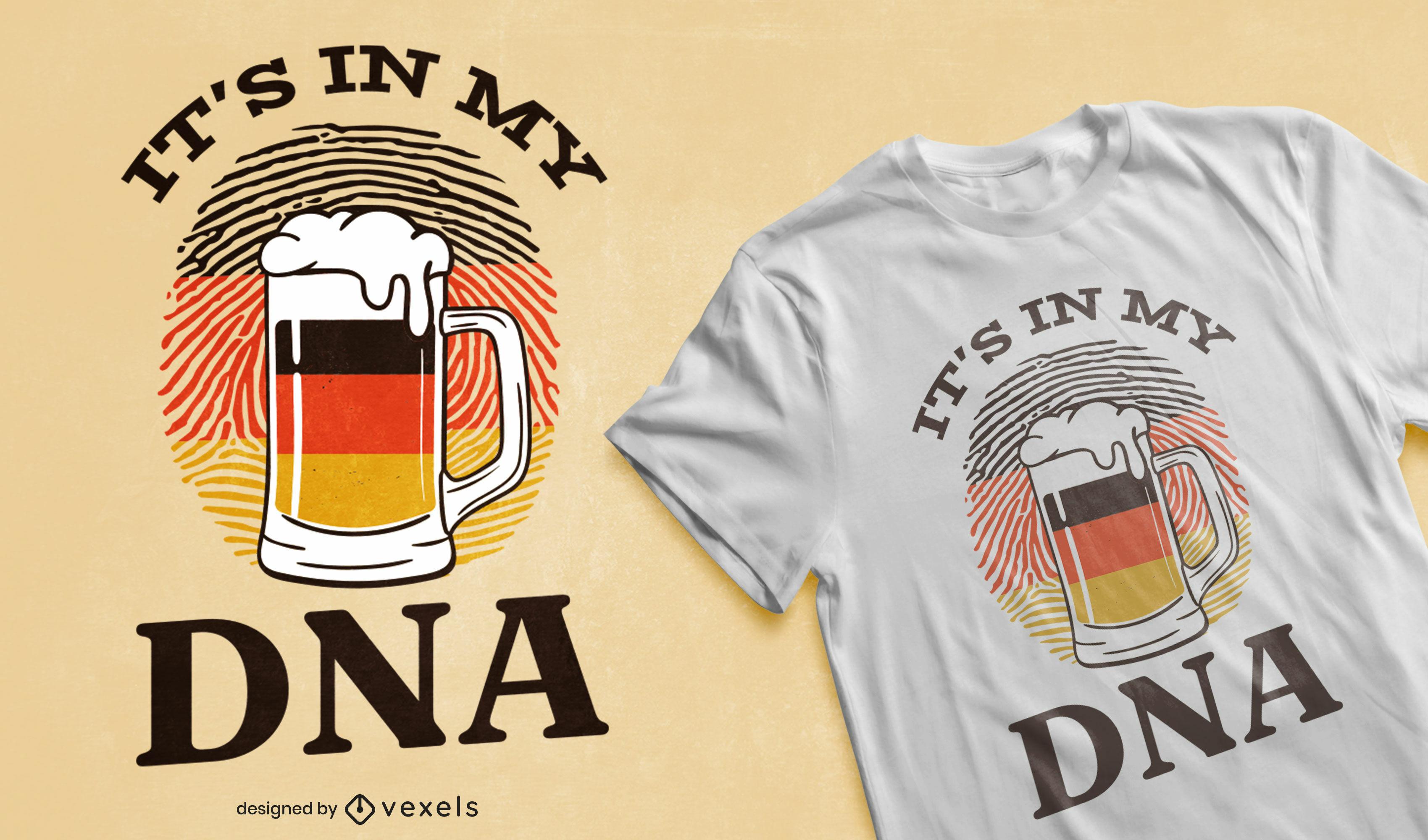 Dise?o de camiseta de adn alem?n de cerveza.